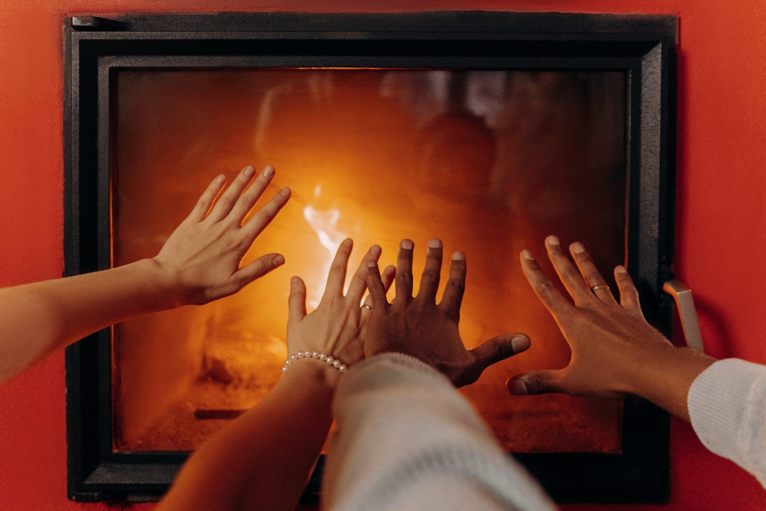 A fire in a home.